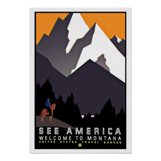 See America Montana Vintage Travel Poster