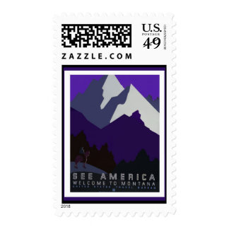 See America - Montana _ WPA Poster Series Postage Stamp