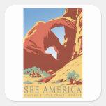 See America Vintage Square Sticker