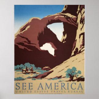 See America Vintage Travel Bureau Poster