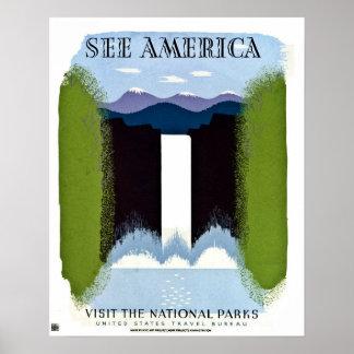 See America Visit National Parks vintage Poster
