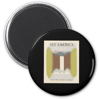 See America Visit The National Parks 2 Inch Round Magnet