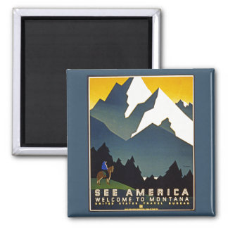 See America - Welcome to Montana 2 Inch Square Magnet