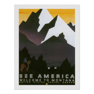 See America Welcome to Montana (border) Poster