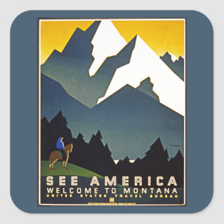 See America - Welcome to Montana Square Sticker