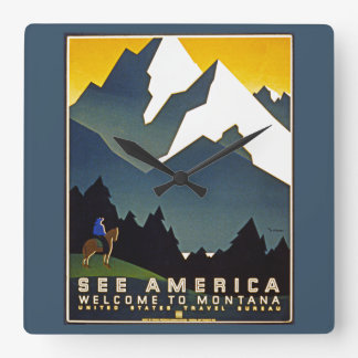 See America - Welcome to Montana Square Wall Clock