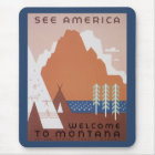 See America Welcome to Montana, Vintage Travel Mouse Pad