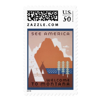 See America Welcome to Montana, Vintage Travel Postage