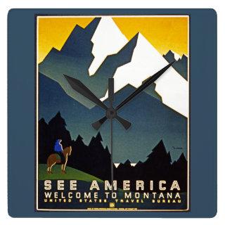 See America - Welcome to Montana Wall Clocks