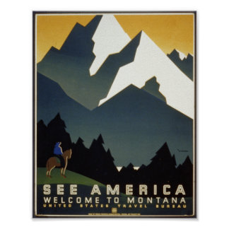 See America : Welcome to Montana with Horse Poster
