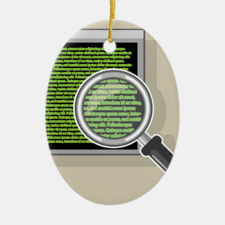 See code through magnifying glass ceramic ornament