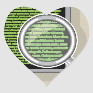 See code through magnifying glass heart sticker