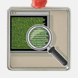 See code through magnifying glass metal ornament