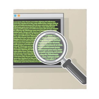 See code through magnifying glass notepad
