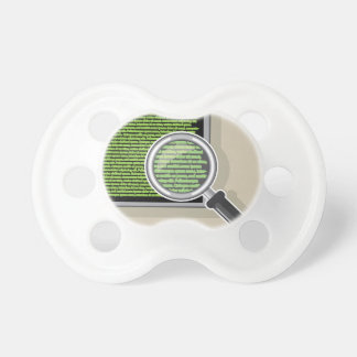 See code through magnifying glass pacifier