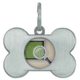 See code through magnifying glass pet tag