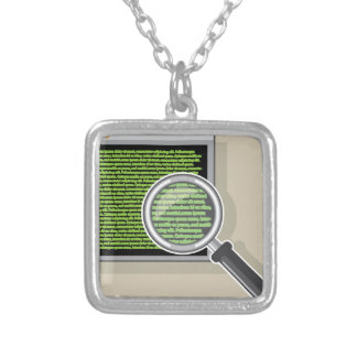 See code through magnifying glass square pendant necklace