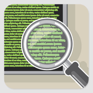 See code through magnifying glass square sticker
