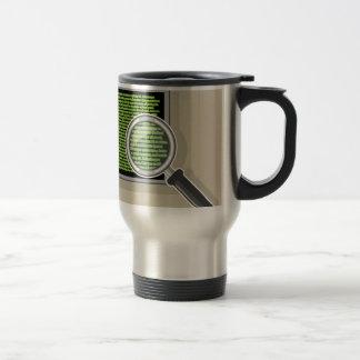 See code through magnifying glass travel mug