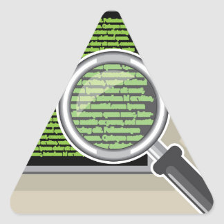 See code through magnifying glass triangle sticker