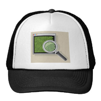 See code through magnifying glass trucker hat