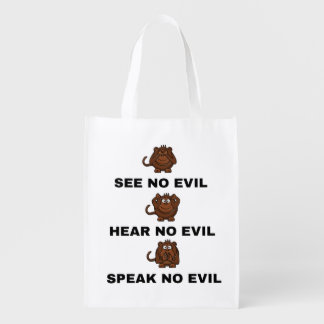 See Hear and Speak No Evil Three Monkeys Bag Reusable Grocery Bag