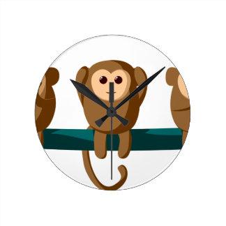 See Hear Speak Monkeys Round Clock