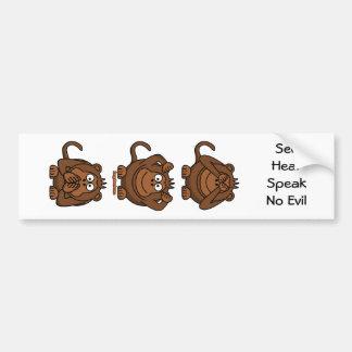 See Hear Speak No Evil Monkeys Bumper Sticker