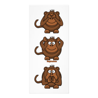 See Hear Speak No Evil Monkeys Rack Card