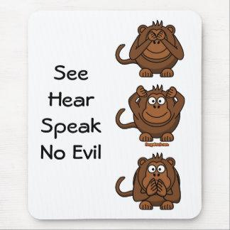 See Hear Speak No Evil Monkeys, SeeHearSpeakNo ... Mouse Pad