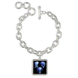 See Hear Speak No Evil Skulls Charm Bracelet