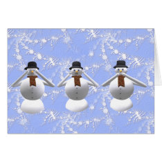See, Hear, Speak No Evil Snowman Christmas Card at Zazzle