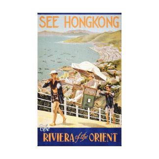 See Hong Kong Vintage Travel Poster Restored Canvas Print