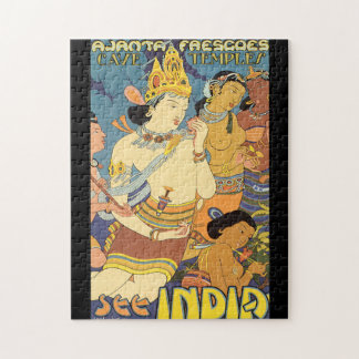 See India Cave Temples Vintage Travel Poster Jigsaw Puzzle