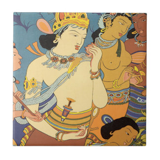 See India Cave Temples Vintage Travel Poster Tile