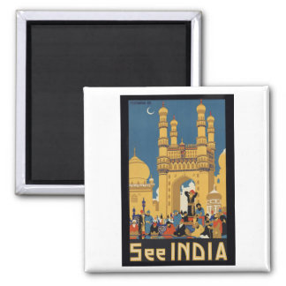See India Poster 2 Inch Square Magnet