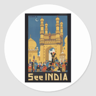 See India Poster Classic Round Sticker