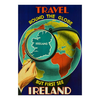 See Ireland ~Vintage Irish Travel Canvas. Poster