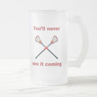See It Coming Lacrosse Frosted Glass Beer Mug