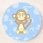 See No Evil - Cute Monkey Cartoon Beverage Coasters