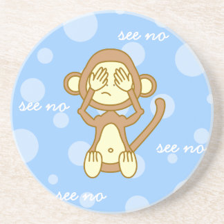 See No Evil - Cute Monkey Cartoon Drink Coaster