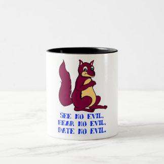 See no evil, hear no evil, date no evil Two-Tone coffee mug