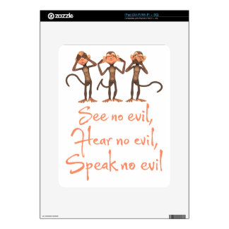 See no evil - hear no evil - speak no evil - decals for iPad