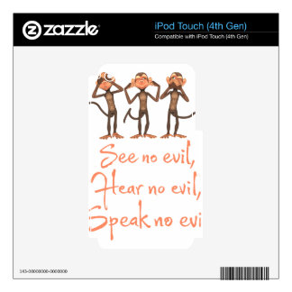 See no evil - hear no evil - speak no evil - iPod touch 4G decal