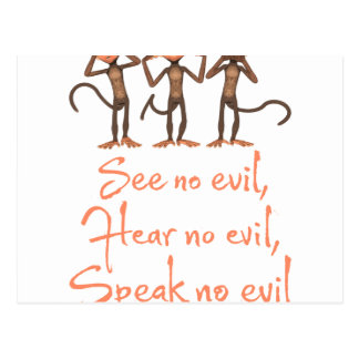 See no evil - hear no evil - speak no evil - postcard
