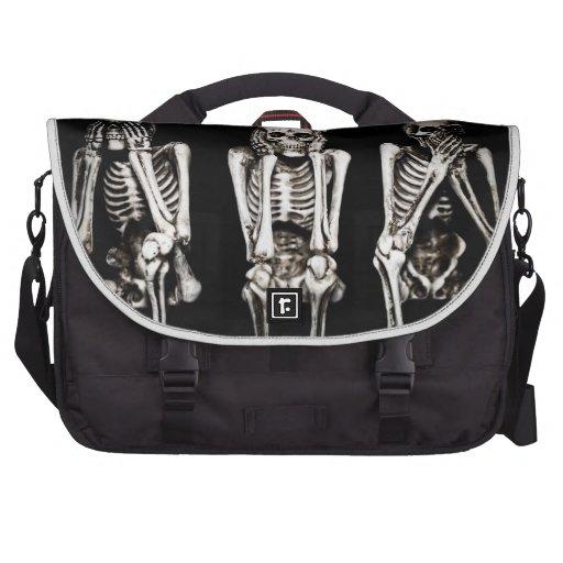 See No Evil, Hear No Evil, Speak No Evil Skeletons Bags For Laptop