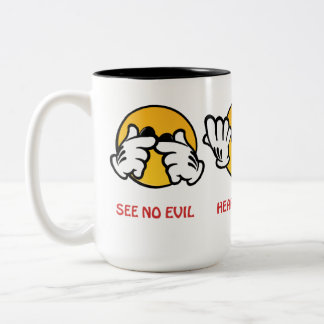See No Evil, Hear No Evil, Speak No Evil Two-Tone Coffee Mug