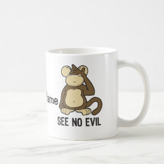 See No Evil Monkeys - Personalize Coffee Mug