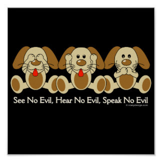 See No Evil Puppies (dark) Poster