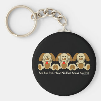 See No Evil Puppies Key Chain